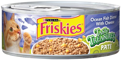 Purina Friskies Tasty Treasures Paté, Oceanfish Dinner with Cheese Cat Food, 5.5-Ounce (Pack of 24), My Pet Supplies
