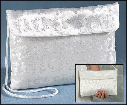 Religious Gifts First Communion White Satin Chalice Brocade Snap Button Purse, 7 1/2 Inch -
