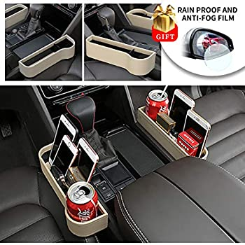 PU Leather Car Seat Gap Filler Organizer Catcher Center Console Side Pocket With Cup Holder Pack Of 1 Beige