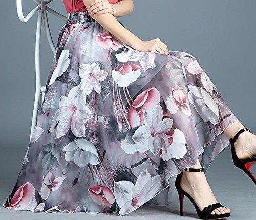 Style Longues de Soie FEOYA Mousseline 8 Bohme en Jupes Femmes Modle qSnntB