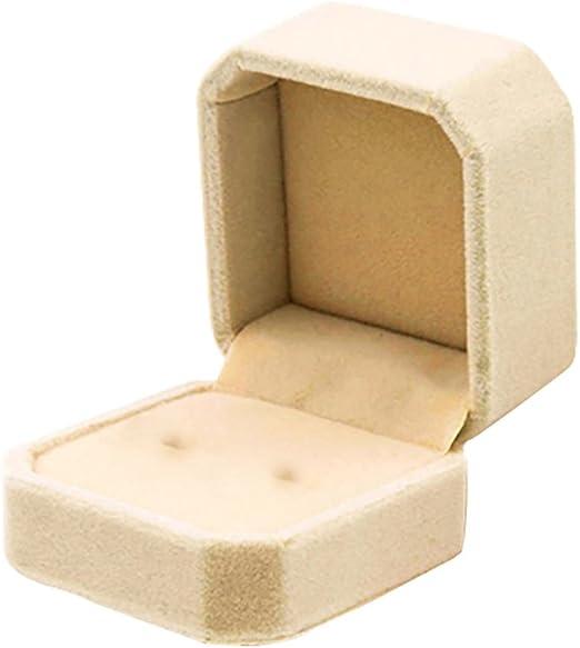 Mackur - Caja de Regalo para Collar, Pendientes, Anillos, Cajas, para Boda, Compromiso, 1 Pieza, Beige, 5.0 * 5.5 * 4CM: Amazon.es: Hogar