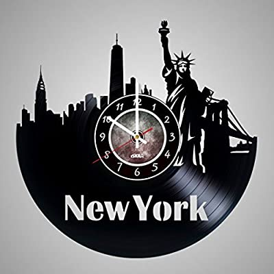 New York City Vinyl Record Wall Clock - Get unique living room wall decor - Gift ideas for friends, teens, men and women, girls and boys - NY Unique Art Design Gifts
