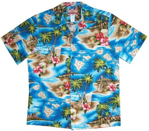 RJC Men's Hibiscus Hawaiian Islands Hawaiian Shirt Turquoise XL - Island Aloha Shirt