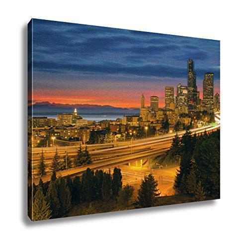 Ashley Canvas, Seattle Cityscape After Sunset, - Sun Seattle Hours