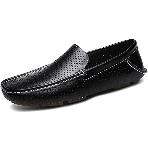 Leather Shoes Classic Flat Loafers Heel Shenn On Hollow Slip Black Men's wzxW1R0