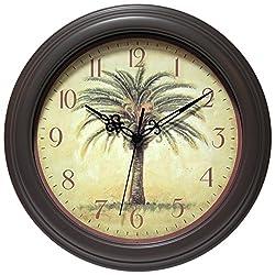 Infinity Instruments Cabana 12 Silent Sweep Resin Palm Tree Wall Clock
