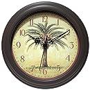 "Infinity Instruments Cabana 12"" Silent Sweep Resin Palm Tree Wall Clock"