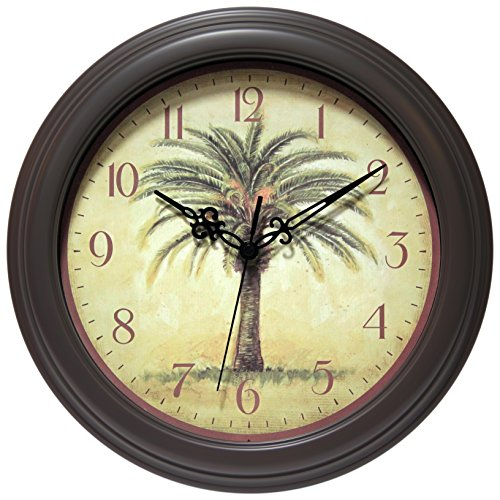 "Infinity Instruments Cabana 12"" Silent Sweep Resin Palm Tree Wall Clock"
