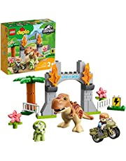 LEGO 10939 DUPLO Jurassic World T. rex and Triceratops Dinosaur Breakout Toy for Boys & Girls Age 2