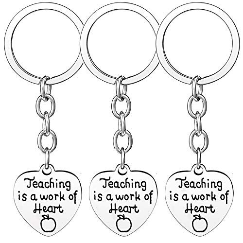 Nzztont Pack of 3 Teacher Bangles Gifts for Teacher Open School Gifts for Teachers Thank You Bangle Bracelets (3PCs Keychain Heart Style 19- Teaching is A Work of Heart)