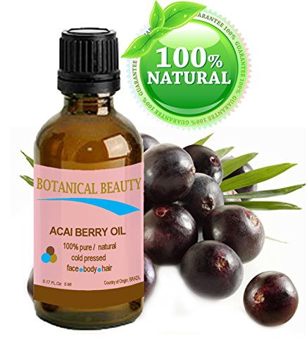 ACAI BERRY OIL 100% Pure / Natural Cold pressed Carrier Oil. For Face, Body and Hair. 0.17 fl.oz. / 5 ml. From Amazon Rainforest.