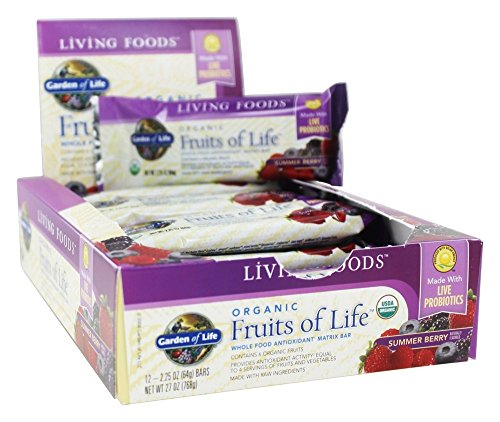 Garden of Life Organic Fruits of Life Whole Food Fruit and Veggie Bars with Fiber and Organic Fruits, Vegetarian, 64g bars (12 per carton)