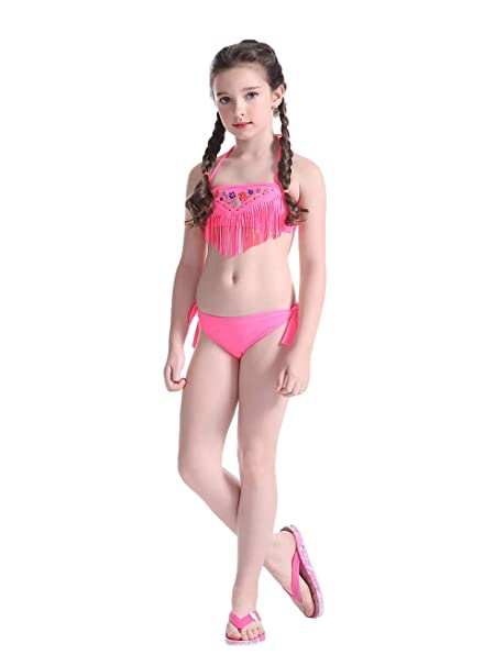 21775493aea7d Kids Girls Halter Floral with Tassel Two Pieces Bikini Set Swimming Costume  Rose Red 8-12 Years  Amazon.co.uk  Clothing