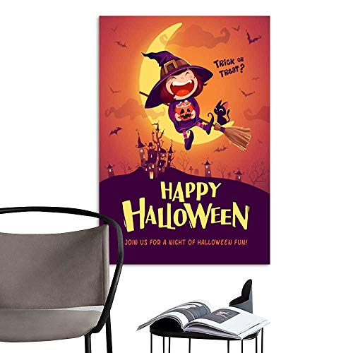 UHOO Arts PaintingHappy Halloween Halloween Little Witch Girl Kid in Halloween Costume Sits on The Moon Retro Vintage .jpg Artwork for Gift for Home Decor 16