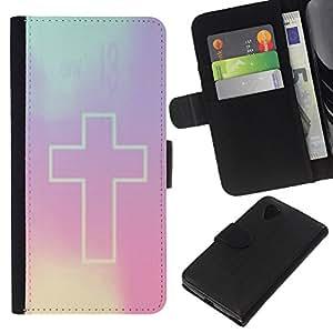 KingStore / Leather Etui en cuir / LG Nexus 5 D820 D821 / Violet Dieu Religion