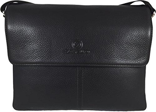 Zavelio Men's Genuine Leather Briefcase Shoulder Messenger Bag Brown by Zavelio