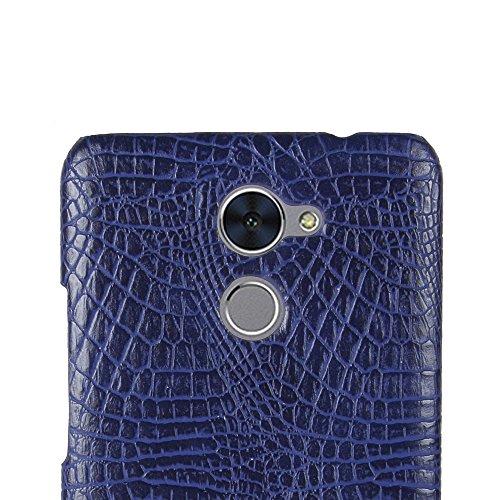 YHUISEN Patrón de piel de cocodrilo clásico de lujo [ultra delgado] cuero de la PU Anti-rascar la cubierta protectora de la caja dura de la PC para Huawei Enjoy 7 plus / Huawei Y7 Prime ( Color : Ligh Blue