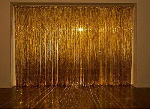 Amazon.com: Metallic 3 Ft X 8 Ft. Gold Foil Fringe Curtains Door Window  Curtain Party Decoration  (Gold, 3u0027 X 8u0027  Pack Of 2): Home U0026 Kitchen