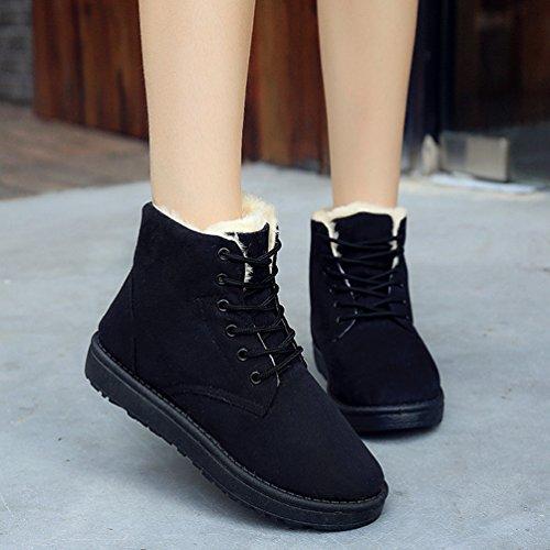 Dooxi Womens Winter Warm Snow Boot Lace Up Walking Shoes Non-slip Ankle Martin Boots Black KGFOEmqC
