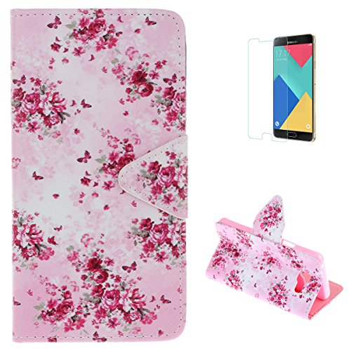 Samsung Galaxy J3 2015/2016 Flip Wallet Case,KaseHom Premium Leather Holster [Free Screen Protector] with Dual Card Slots Kickstand Colourful Pattern Shockproof Bumper Skin Cover Fancy Floral