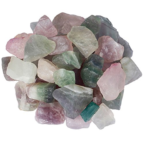 SUNYIK Natural Raw Stones Rough Rock Crystals for Tumbling,Cabbing, Light Color Flourite, 1pound(about 460 gram) by SUNYIK