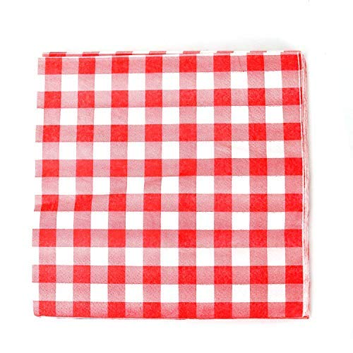 Buorsa 40 Count Red and White Gingham Luncheon Napkins Decorative Disposable Paper Party ()