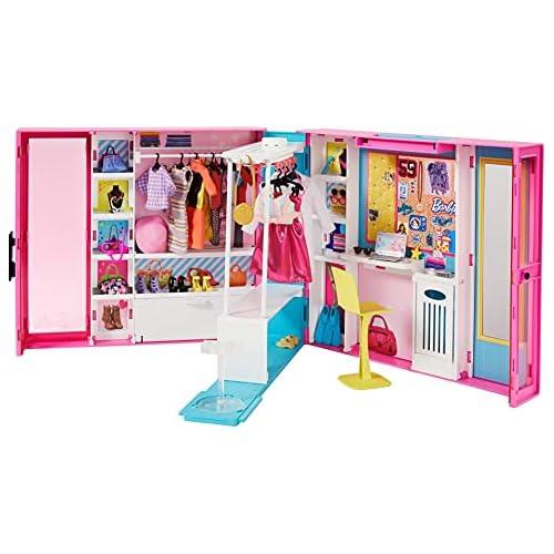 chollos oferta descuentos barato Barbie Armario de ropa muñeca con 25 accesorios de moda Mattel GPM43