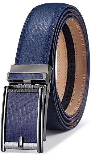Men's Belt,Bulliant Slide Ratchet Belt for Men with Genuine Leather 1 3/8,Trim to Fit (Leather Blue Dark Mens)