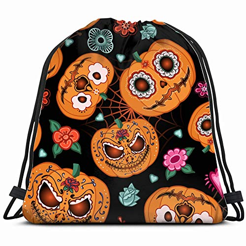 halloween pumpkinflowers spiderweb celebrities food and drink Drawstring Backpack Gym Sack Lightweight Bag Water Resistant Gym Backpack for Women&Men for Sports,Travelling,Hiking,Camping,Shopping Yoga -