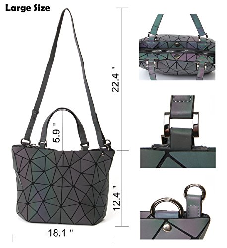 Shard PU purses Wallet Luminous Geometric Leather zip Handbags Luminous Lattice Set unique and HotOne Bag Design Large gwWAXdRgxq