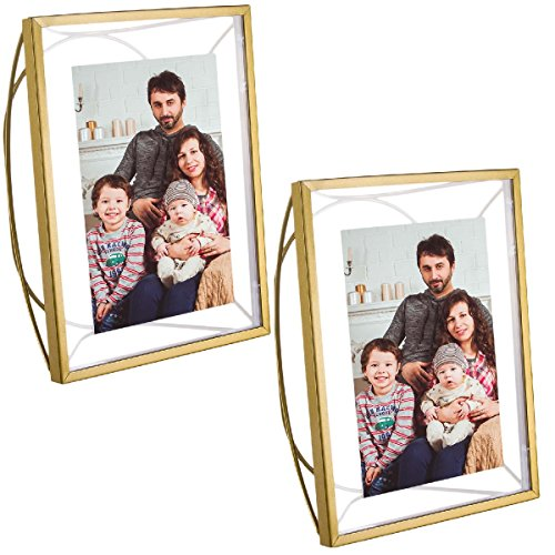 Better Homes and Gardens (2 Pack) Picture Frames, 4x6 Picture Frame Photo Frame Set, Floating Picture Frame With Free Standing Metal Arc, Matte Brass Finish & Glass from Better Homes & Gardens