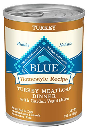 Blue Buffalo Homestyle Recipe Natural Adult Wet Dog Food, Turkey Meatloaf 12.5-oz can (Pack of 12)
