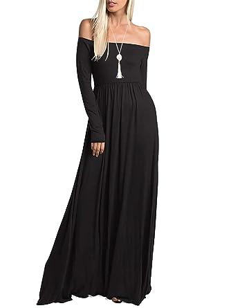 Amoretu Womens Casual Long Sleeve Off Shoulder Maxi Long Dress with Pocket  (Black 43f26682f0