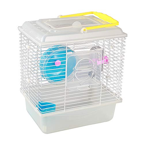 KIBUN Small Hamster Cage Set Transparent Pet Portable Carrier Carry Case Cottage Small Animal Habitat Size M