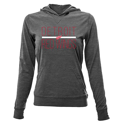 NHL Detroit Red Wings Women's Recovery Line Em Up Pullover Hooded Mid-Layer Apparel, Medium, Steel Grey (Apparel Steel)