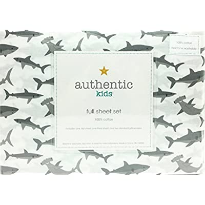 Authentic Kids Happy Sharks All Cotton Full Size Sheet Set: Home & Kitchen