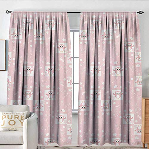- NUOMANAN Bedroom Curtains Kids,Pink Owls and Little Birds on Cute Floral Backdrop Girlish Pattern with Swirls,Pale Pink White,Insulating Room Darkening Blackout Drapes 72
