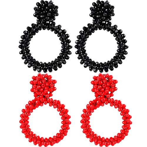 Zhanmai 2 Pairs Bohemian Beaded Earrings Statement Drop Earrings Round Dangle Earrings for Women Girls (Set 5)