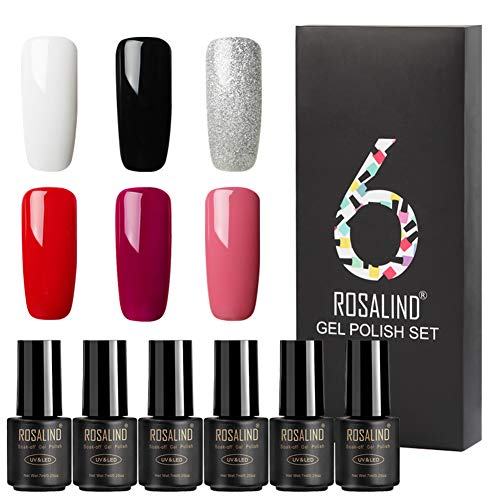 Polish Gel Gift Box of 6 Classic Colors Rosalind Gel Nail Polish UV Led Cured Manicure Home Semi Permanent Long Lasting Nails Art (Daily Use Colors)