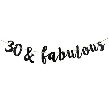 amazon com 30 fabulous banner black glitter 30th birthday party rh amazon com  fabulous 30 birthday decorations