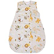 Baby Sleeping Bag - with Animal Pattern, 100% Cotton, Summer Model 1 TOG (Small (3 - 11 mos))
