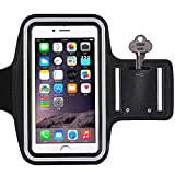 FYEO Armband, Sweat Proof Water Resistant Sports Running Exercise Gym Workout Sport band(5.5 inch) With Key Holder For iPhone 7 Plus Also Fits For iPhone 6 Plus,S7 Edge,OnePlus 3,Nexus 6P etc - Black