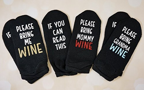 CUSTOM - If you can read this please bring ME wine/beer/yarn/coffee/your text socks - funny and silly white elephant or stocking stuffer gift by Jennifer Noble