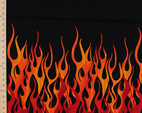 Cotton Flames Fire Border Print Cotton Fabric Print by the Yard CX6992-Blac-D