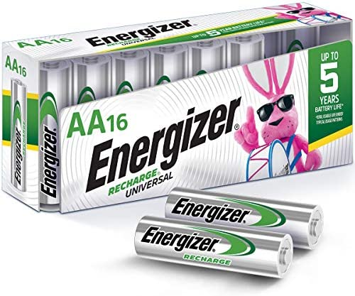 Energizer Rechargeable AA Batteries, NiMH, 2000 mAh, Pre-Charged, 16 depend (Recharge Universal)
