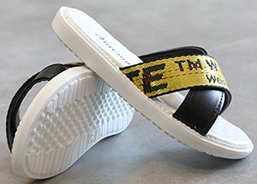 VECJUNIA Boy's Girl's Slide On Flat Slippers Anti-Skid Cross-Strap Indoor Shoes (Black, 11 M US Little Kid) by VECJUNIA (Image #2)