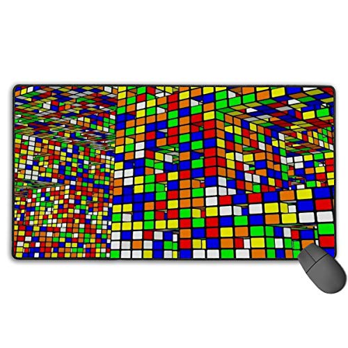 LNUO-2 Large Gaming Mouse Pad/Mat, Rubix Cubes Pattern Mousepad with Non-Slip Rubber Base for Office & Home, Durable Stitched Edges ()