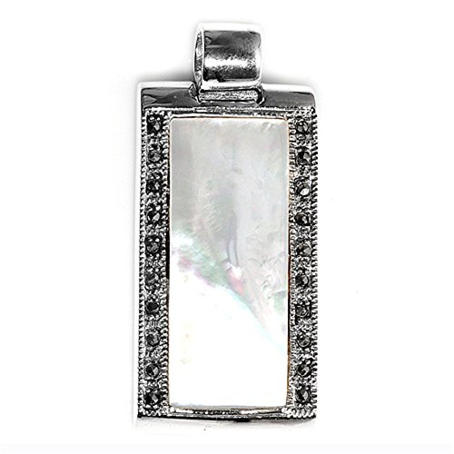 Pendant Simulated Mother of Pearl Simulated Marcasite .925 Sterling Silver Charm - Silver Jewelry Accessories Key Chain Bracelet Necklace Pendants