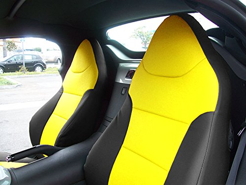 SATURN SKY 2007-2010 Black/Yellow Artificial leather Custom Made Original fit Front seat covers