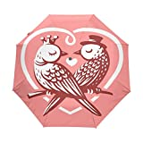 Naanle Birds Owl Couple Crown Hat Branch Love Heart Auto Open Close Foldable Umbrella